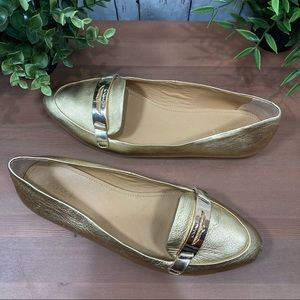 Coach Ruthie Gold Metallic Tumbled Loafer Flats